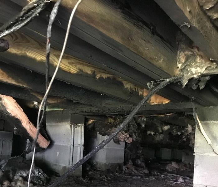 Burned joists and insulation